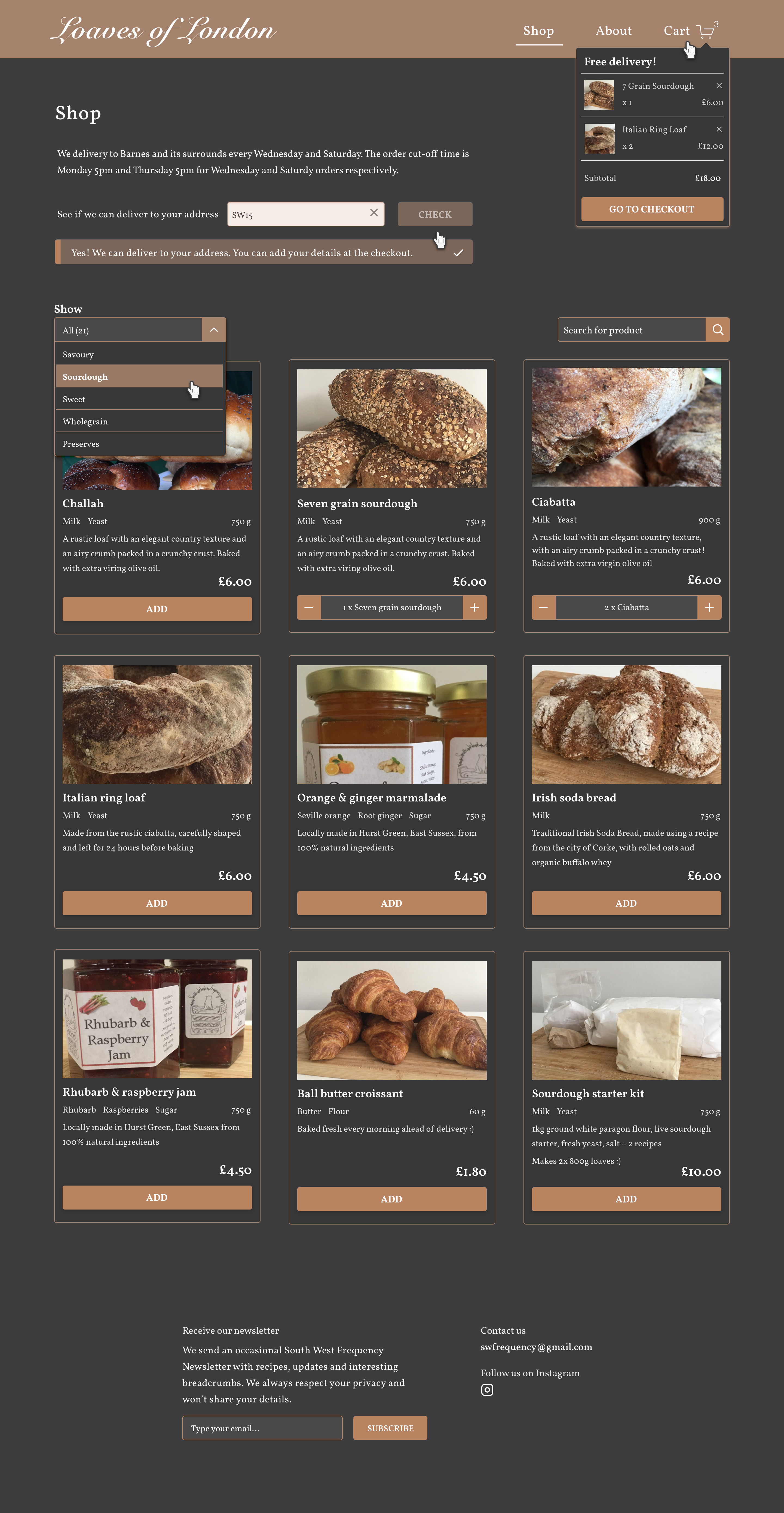 SW Frequency product collection page design