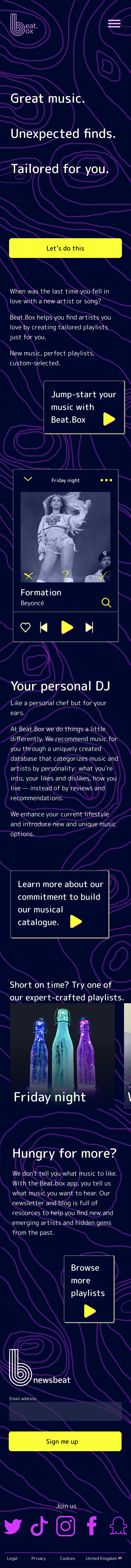Mobile landing page design for a music app