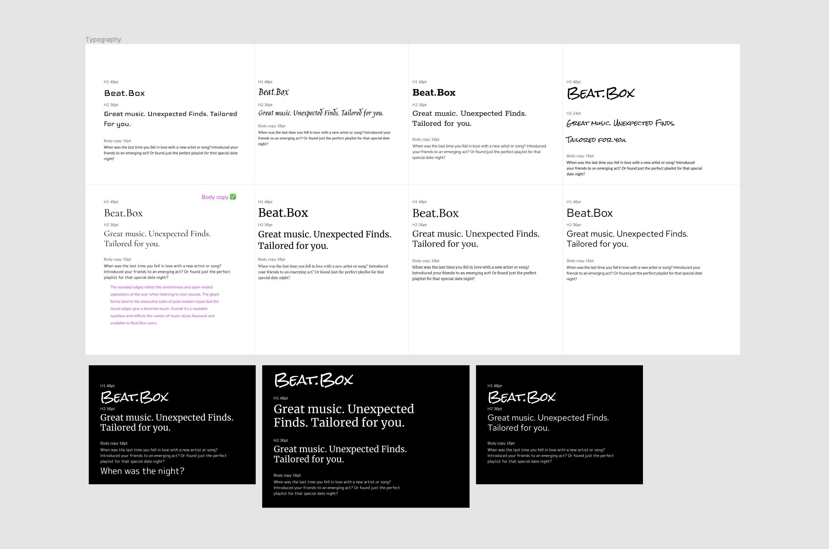 Typography samples for an app